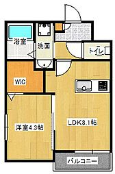 Osaka Metro谷町線 大日駅 徒歩10分の賃貸アパート 1階1LDKの間取り