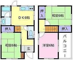 南海高野線 北野田駅 徒歩13分の賃貸一戸建て 1階3DKの間取り