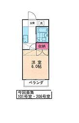 〜駅、スーパ至近の好立地リヴェール桜上水〜[206号室]の間取り