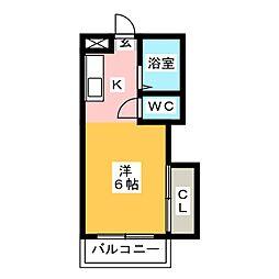 パシフィック白木原[4階]の間取り