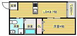 アルル三番館[1階]の間取り