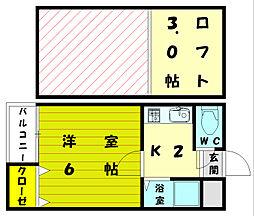 福岡県宗像市石丸2丁目の賃貸アパートの間取り
