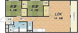 順慶町ハイツ[4階]の間取り