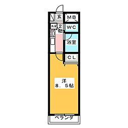 プリミエール八田III[4階]の間取り