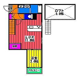 仮)デリカ竹下[2階]の間取り
