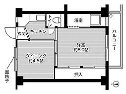 ビレッジハウス加田2号棟 4階1DKの間取り