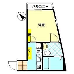 東武東上線 下赤塚駅 徒歩7分の賃貸アパート 2階1Kの間取り