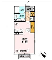 新潟県新潟市中央区花園2丁目の賃貸アパートの間取り