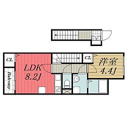 京成本線 ユーカリが丘駅 徒歩7分の賃貸アパート 2階1LDKの間取り