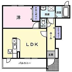 埼玉県鴻巣市宮前の賃貸アパートの間取り