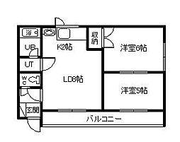 第3ハウスカワゾエ 2階2LDKの間取り