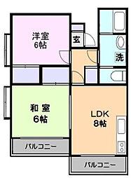 神奈川県横浜市緑区西八朔町の賃貸アパートの間取り