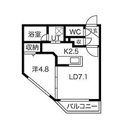 札幌市営南北線 北12条駅 徒歩3分の賃貸マンション 3階1LDKの間取り