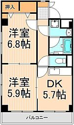 三恵中田パレス[7階]の間取り