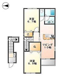 仮 宿原新築アパートH30年4月[2階]の間取り