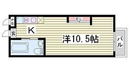 クレセンティア神戸・北野 2階ワンルームの間取り