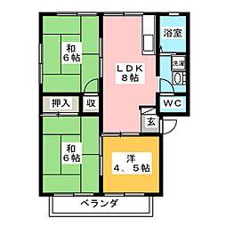 大原ハイツA・B[2階]の間取り