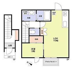 JR総武本線 新小岩駅 徒歩8分の賃貸アパート 2階1LDKの間取り