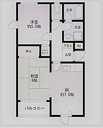 ロイヤルメゾン甲東園VII[201号室]の間取り