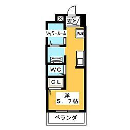 AALii 3階ワンルームの間取り