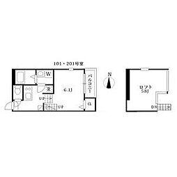 名古屋市営東山線 高畑駅 徒歩8分の賃貸アパート 2階1SKの間取り