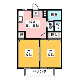 ラフォーレ新正B棟[1階]の間取り