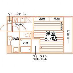 グラース(仮称佐賀大医学部前学生マンション) 3階1Kの間取り