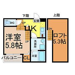 愛知県名古屋市北区金城町2丁目の賃貸アパートの間取り