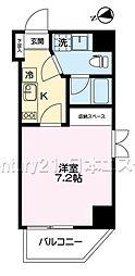 東急大井町線 旗の台駅 徒歩1分の賃貸マンション 5階1Kの間取り