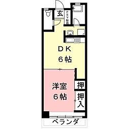 岐阜県岐阜市西荘2丁目の賃貸アパートの間取り