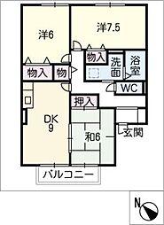 ロイヤル八幡 B棟[2階]の間取り
