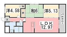 兵庫県姫路市飾磨区中野田1丁目の賃貸マンションの間取り