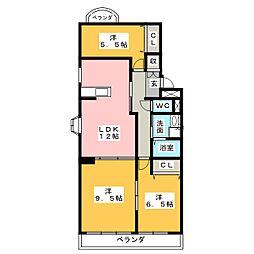 フォレスト岩倉[3階]の間取り