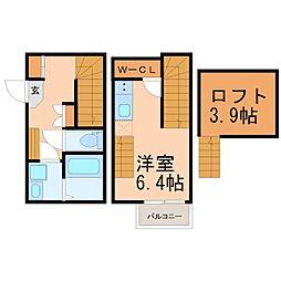 中川区野田1丁目新築アパート 2階1SKの間取り
