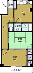 一岡ハイツ磯路[6階]の間取り