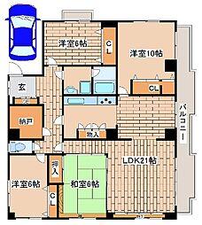 阪急神戸本線 王子公園駅 徒歩12分の賃貸マンション 3階4SLDKの間取り