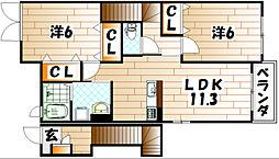 ウッド クリーク テラス B[2階]の間取り