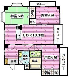 広島県広島市安佐南区緑井3丁目の賃貸マンションの間取り