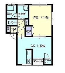 秋田県横手市安田原町の賃貸アパートの間取り