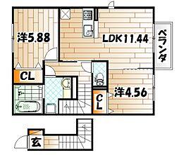 仮)D−room下石田[2階]の間取り