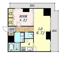 ノルデンタワー新大阪アネックス 22階1LDKの間取り
