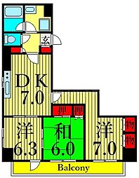 東京メトロ日比谷線 南千住駅 徒歩6分の賃貸マンション 2階3DKの間取り