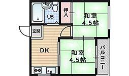 河崎ハイツ 4階2DKの間取り