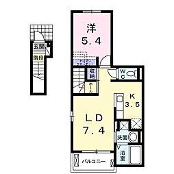 仮称枝吉2丁目アパート1 2階1LDKの間取り