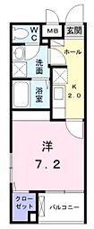 小田急小田原線 町田駅 徒歩16分の賃貸マンション 1階1Kの間取り