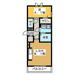 D-roomビーチルック 3階1LDKの間取り