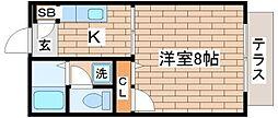 兵庫県神戸市須磨区月見山町2丁目の賃貸アパートの間取り