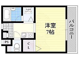 大阪モノレール本線 南摂津駅 徒歩24分の賃貸マンション 3階ワンルームの間取り
