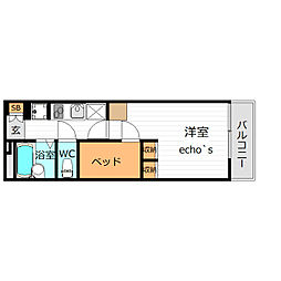 レオパレスセンターヴィレ(39311)[1階]の間取り