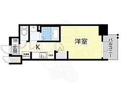 阪急千里線 天神橋筋六丁目駅 徒歩4分の賃貸マンション 2階1Kの間取り